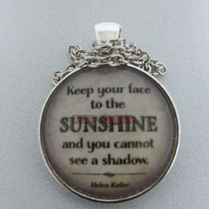 Helen Keller Quote Glass Cabochon Necklace